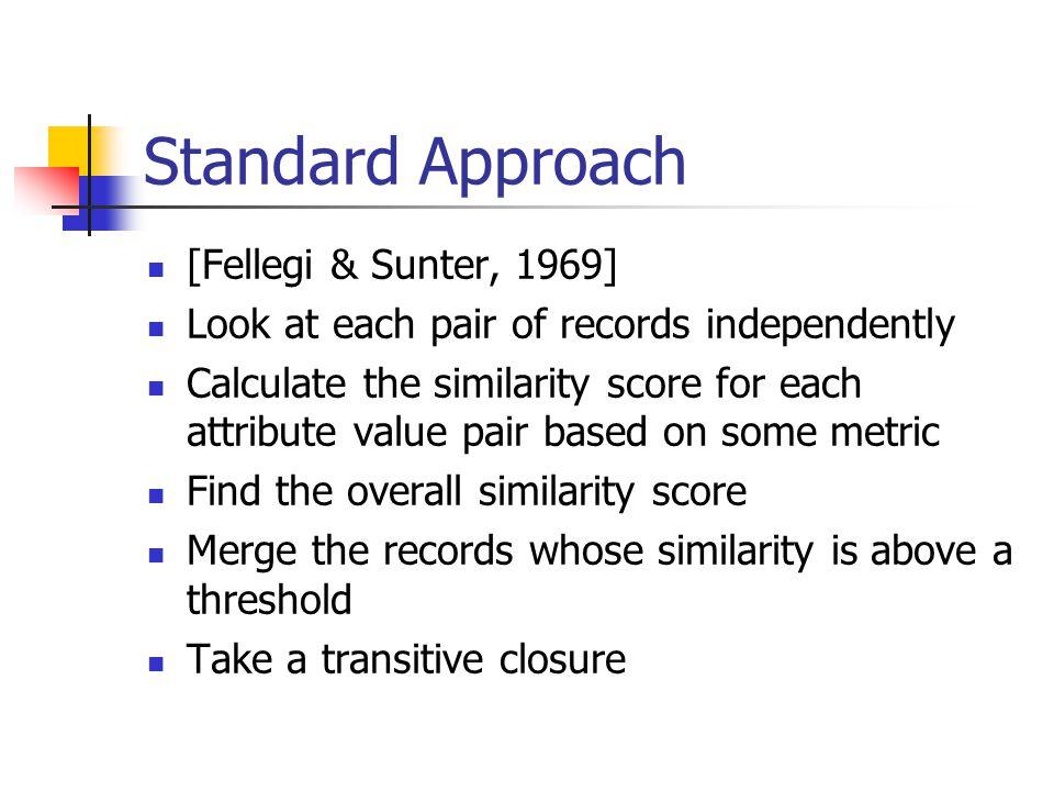 Standard Approach [Fellegi & Sunter, 1969]